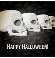 Happy halloween greeting card with human skulls vector image vector image