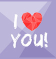 i love you valentines with red heart vector image vector image