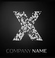 letter x logo silver dots alphabet logotype vector image