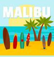 malibu surf board beach background flat style vector image