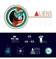 many logos UFO aliens vector image vector image