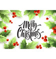 merry christmas hand drawn lettering in realistic vector image