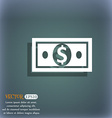 money dollar icon On the blue-green abstract vector image