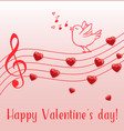 music notes and singing bird vector image vector image