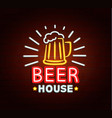 neon sign of beer house vector image vector image