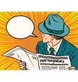 Newspaper reader reaction pop art vector image vector image