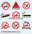 No Smoking Sign Labels and Icons vector image vector image