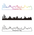 Panama City skyline linear style with rainbow vector image vector image