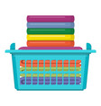 plastic basket with bright towels isolated on vector image vector image