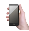 realistic black mobile phone with blank screen vector image vector image