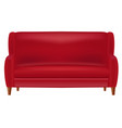 realistic red sofa front view isolated on whit vector image vector image
