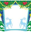 reindeer blue frame vector image