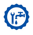 round icon with tap and wrench vector image vector image