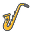 saxophone filled outline icon music vector image vector image