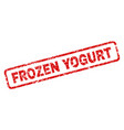 scratched frozen yogurt rounded rectangle stamp vector image