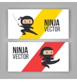 set ninja characters showing different actions vector image vector image