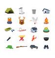 set of hunter fisherman objects equipment vector image