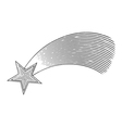 Shooting star in engraved style vector image vector image