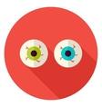 Spooky Eyeballs Circle Icon vector image vector image