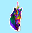 sticker colorful unicorn vector image vector image