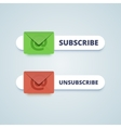 Subscribe and unsubscribe buttons with envelope vector image
