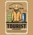tourist travel outfit and hiking sport equipment vector image vector image