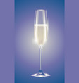 transparent champagne glass with sparkling white vector image vector image