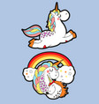 two cute unicorn stickers on blue background vector image vector image