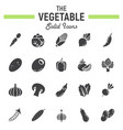 vegetable solid icon set food symbols collection vector image vector image