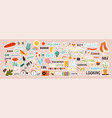 very large collection colored stickers vector image