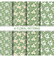 White and Green Floral Patterns vector image