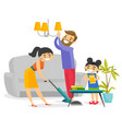 young happy caucasian white family cleaning house vector image vector image