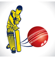 cricket player hit the ball vector image
