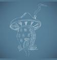 cute cartoon mushroom house sketch vector image