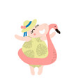cute hippo girl hand drawn vector image