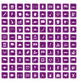 100 geography icons set grunge purple vector image vector image