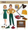 1960 fashion style man and woman personal objects vector image vector image