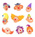 avatar set of funny clowns with different emotions vector image vector image
