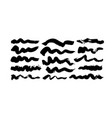 black paint wavy brush strokes collection vector image vector image