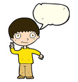 cartoon boy giving peace sign with speech bubble vector image vector image