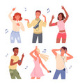 cartoon young happy man and woman group dancer vector image