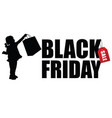 child silhouette with black friday and sale tag vector image vector image