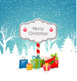 christmas winter landscape with wooden signboard vector image vector image
