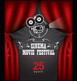cinema poster with red curtains and camera vector image vector image