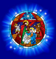 circle stained glass with christmas and vector image