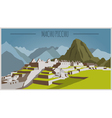 City buildings graphic template Peru Machu Picchu vector image
