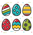 colorful easter eggs flat style vector image vector image