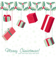 Colorful gift boxes hanging from holly garland vector image vector image