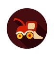 Combine harvester flat icon with long shadow vector image