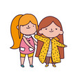 cute little girls with long hair on white vector image vector image